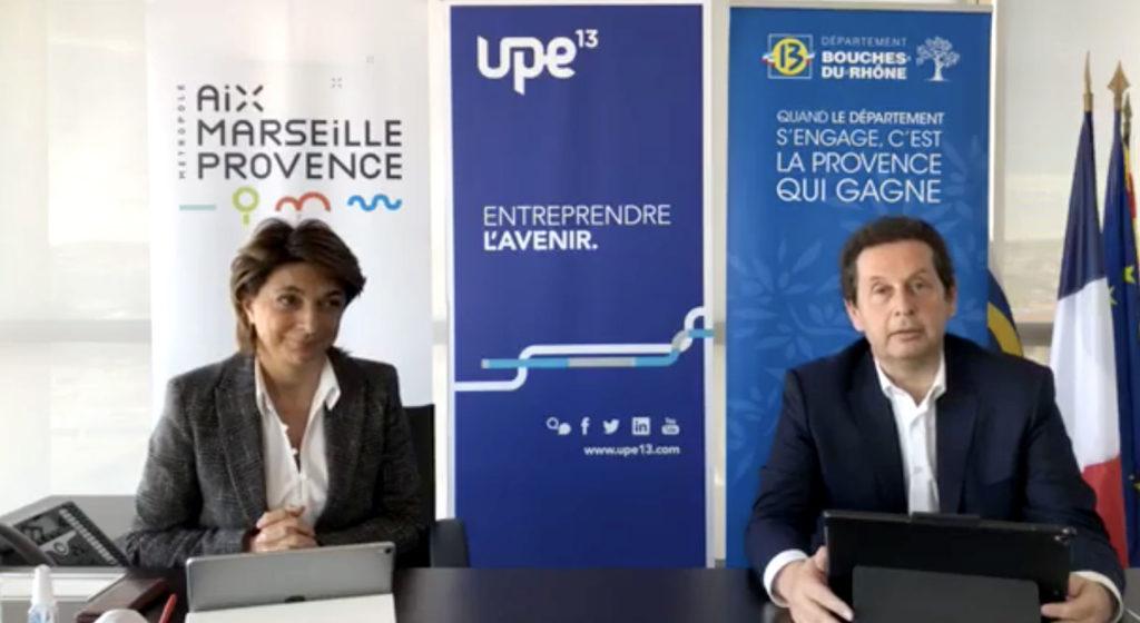 Martine Vassal ici avec Philippe Korcia, le président de l'UPE 13 (Capture Facebook).