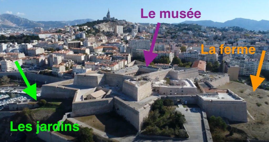 La future citadelle de Marseille avec la localisation des futurs jardins, de la ferme et du musée (Crédit Gomet'/DR)