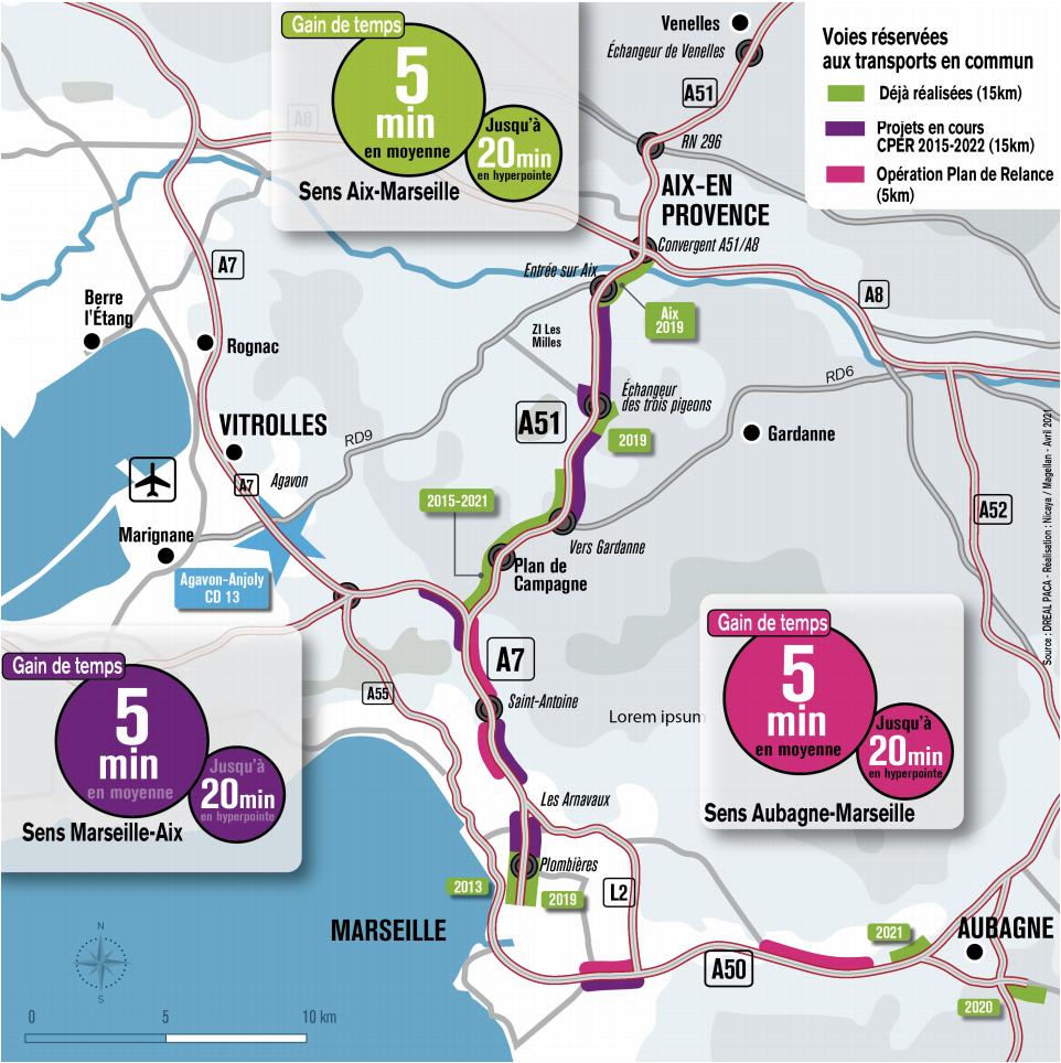 La carte des chantiers à réaliser d'ici la fin 2022 ( Crédit Dreal)