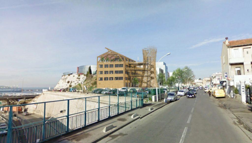 La future enveloppe du bâtiment. L'équateur veut être aussi un repère architectural (Crédit AIR Architectures).