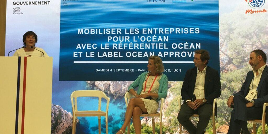 La ministre de la mer (à gauche) avait convié Sabine Roux de Bézieux (Fondation de la mer), Bertrand Camus (SUEZ) et Patrice Berganini (CMA-CGM) pour évoquer le label Ocean approved et le référentiel océan (Crédit Gomet'/JRG)